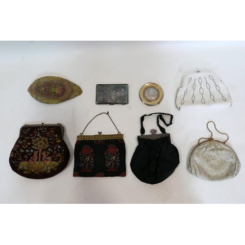 67 - A collection of ladies clutches, together with a vintage Middle Eastern hat, a plated compact with l...