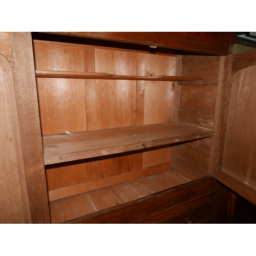 418 - A 19th century oak and mahogany linen press, H.207 W.127 D.51cm...