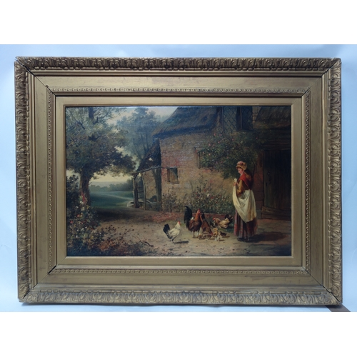 30 - Ernest Walbourn (British, 1872-1927), Feeding the Chickens, oil on canvas, in giltwood frame, 50 x 7...