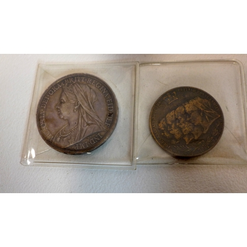 128 - A large collection of English coins with two George V medals...