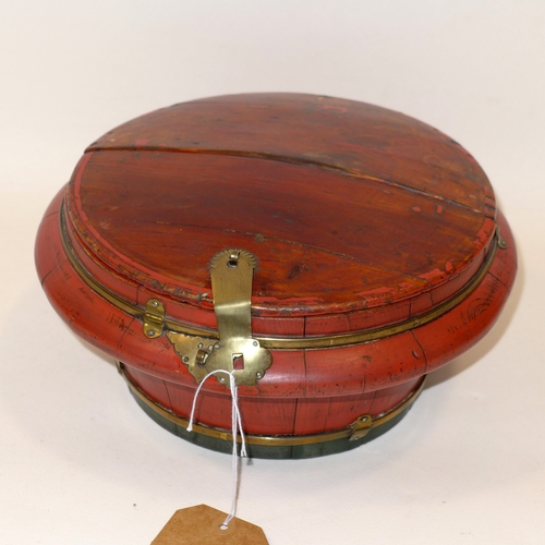 147 - A Chinese red lacquered and brass spice box, H.16...