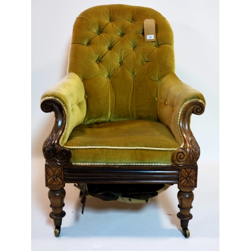 281 - A William IV mahogany armchair with velour upholstery...