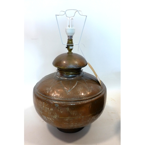 307 - An early 20th century copper vase converted to a lamp...