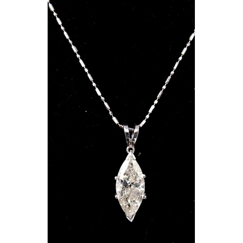 40 - A boxed, 18ct white gold marquise-cut diamond pendant (1.5 carats approx) on an 18ct white gold chai...