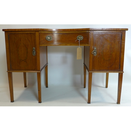 269 - A late 19th century satinwood desk, with marquetry inlay, raised on tapered legs, bearing label for ...