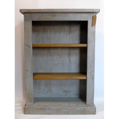 314 - A contemporary painted bookcase with adjustable shelves, H.127 W.92 D.35cm...