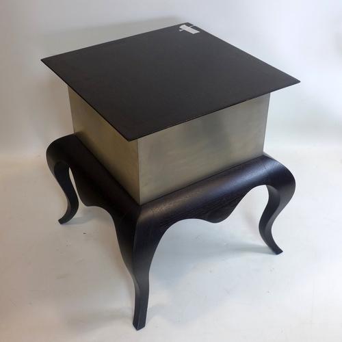 371 - A contemporary oak and aluminium lamp table, H.60 W.54 D.54cm...