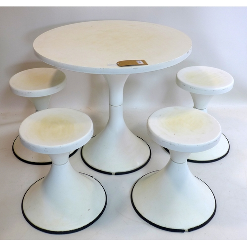 390 - A white fibre glass table and four stools...