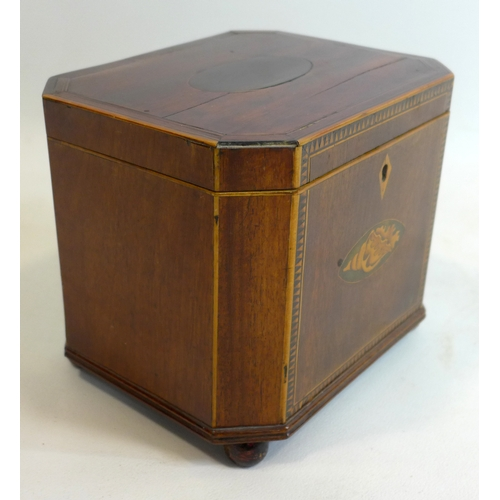 83 - An Georgian mahogany and box-wood tea caddy with shell motif in roundel to central on four bun feet,...