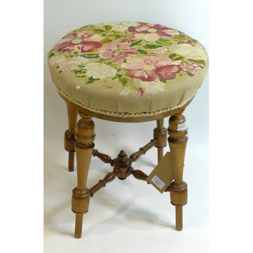 217 - A Victorian walnut stool, floral embroidered, on turned supports and X-stretcher...
