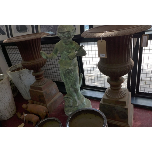 111 - A pair of cast iron Campana style urns, raised on stepped plinth bases, H.102cm Diameter 54cm (2)...