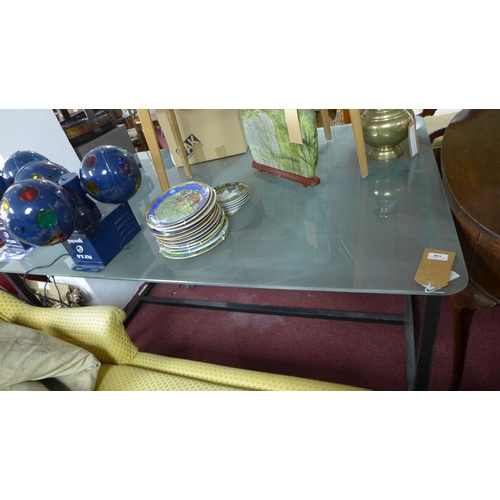 138 - A contemporary frosted glass top dining table raised on steel base, H.73 W.160 D.110cm...