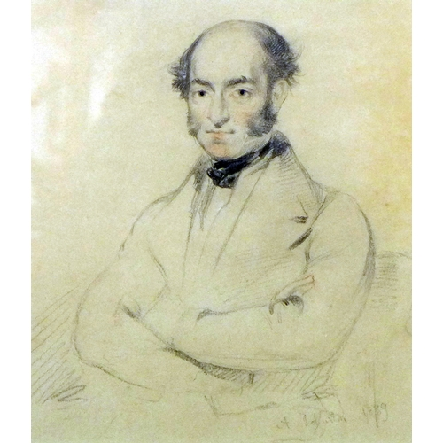 18 - Alexander Johnston (1815-1891), portrait of a gentleman, pencil on paper, signed and dated 1889 to l...