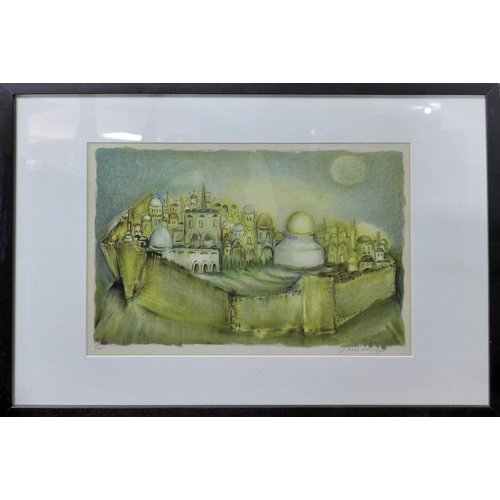 206 - A lithograph of a view of Jerusalem, indistinctly signed in pencil to lower right margin, numbered 1...