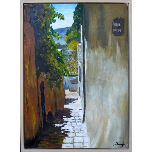 215 - Contemporary school, A cobbled street, oil on canvas, signed Kmafo to lower right, 70 x 50cm...