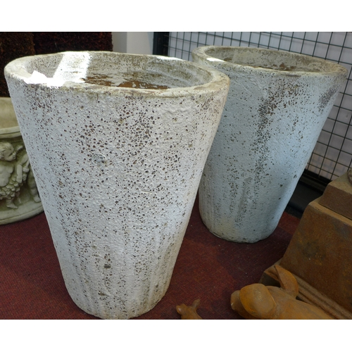 241 - Two white painted conical planters in the Atlantis finish, H.56cm Diameter 42cm (2)...