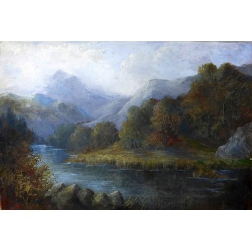 28 - 20th century school, Scottish mountainous landscape, oil on canvas, 51 x 77cm...