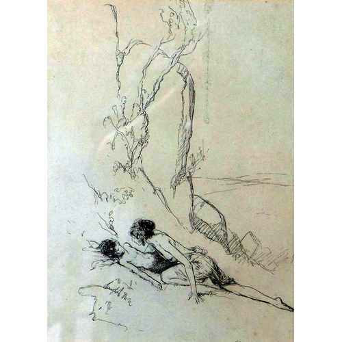 3 - Claude Allin Shepperson (British, 1887-1921), illustration of lady attending to a young boy, ink on ...