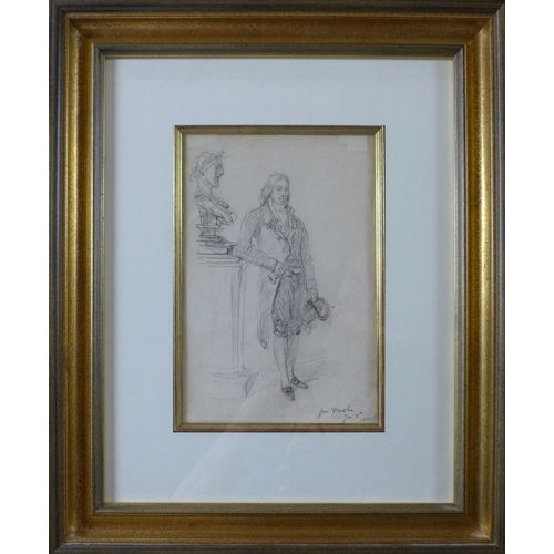 37 - An early 20th century pencil drawing of a gentleman standing by a bust, signed and dated 8th Jan 190...