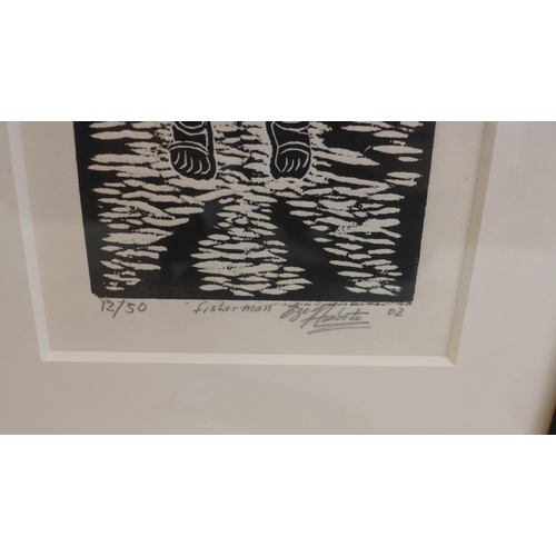 388 - Two contemporary African monochromatic linocut prints by the same hand, comprising 'Fisherman', numb...