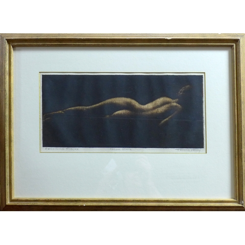 39 - Francis Kelly (1927-2012), 'Reclining Figure - Color State', etching, signed and titled in pencil to...