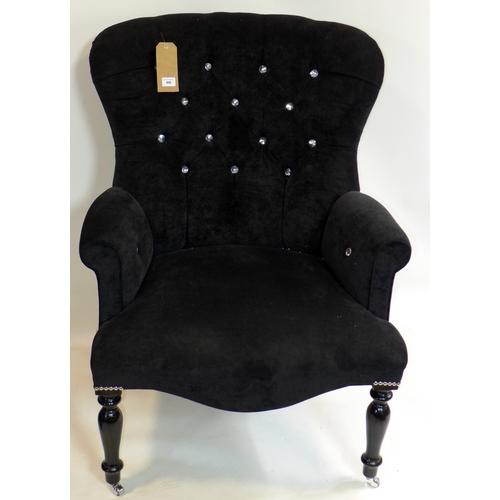 440 - A Victorian style chair with buttoned upholstery...