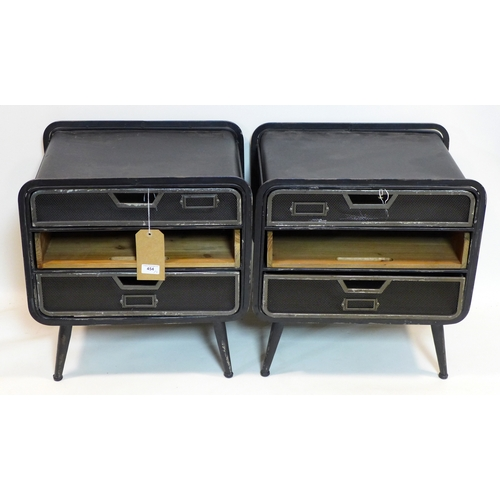 454 - A pair of industrial side chests, H.52 W.49 D.37cm...