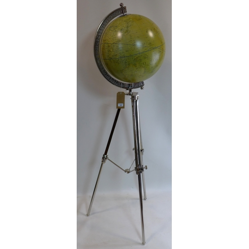 458 - A contemporary globe on adjustable chrome stand...