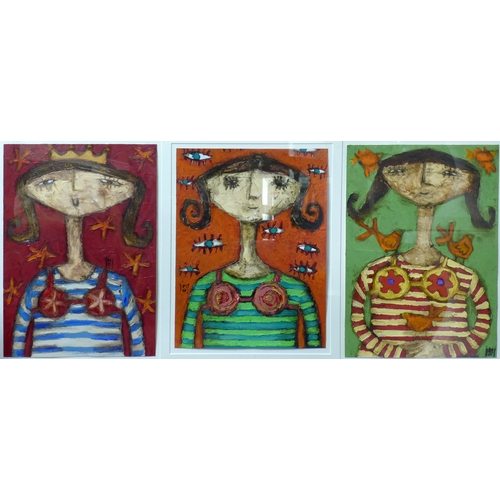 81 - A contemporary tryptic oil on board of three young girls, each monogrammed MD, framed and glazed, wi...