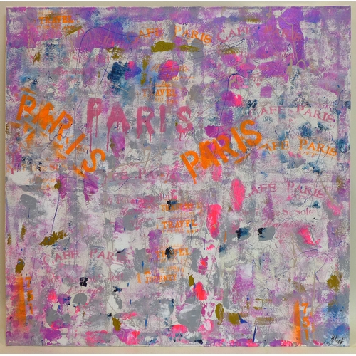 102 - Helen Lack, contemporary artist, Mixed media canvas entitled 'Paris', in shades of purple, blue and ...
