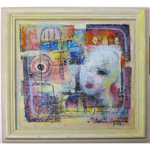 182 - A contemporary abstract study of a female head, mixed media on board, indistinctly signed 'Milorie-C...
