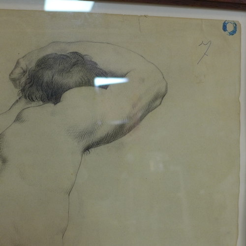 185 - A 19th century life drawing of a nude man, pencil on paper, framed and glazed, 60 x 45cm...