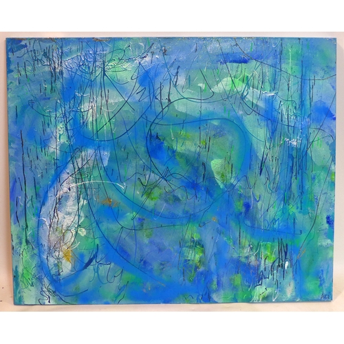 222 - Helen Lack, contemporary artist, abstract entitled, 'Ocean 2' in shades of blue and green, mixed med...