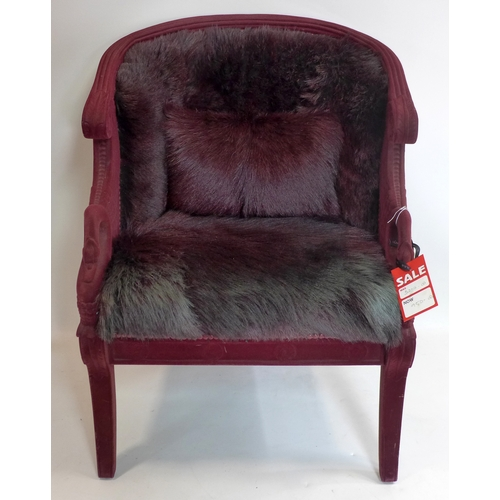 150 - An Empire style flocked and goat skin chair...