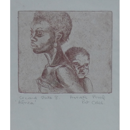 196 - Pat Coles, 'Africa', Second State 8, a lady carrying her baby, etching, artist's proof, framed and g...