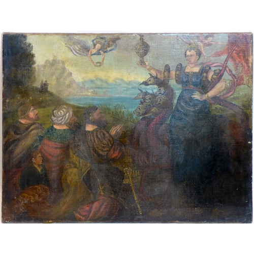 211 - Late 19th century Continental school, Hera and the Hydra, oil on canvas, indistinctly signed lower r...