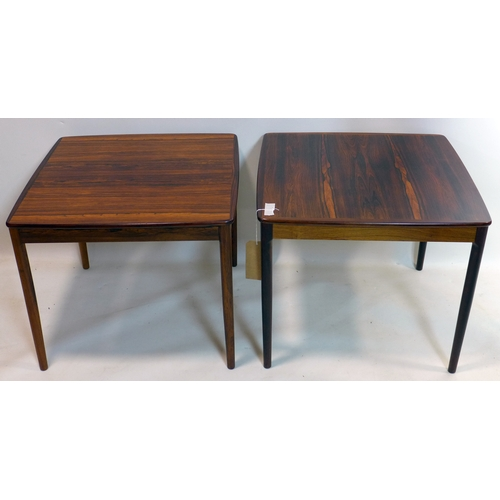 304 - A pair of 20th century Swedish exotic hardwood lamp tables, by Saffle, H.50 W.60 D.60cm...