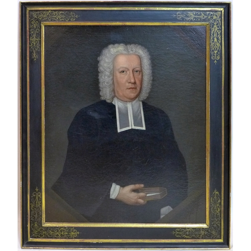 22 - A late 18th/early 19th century oil on canvas, portrait of a judge, in gilt and ebonized frame, 74 x ...