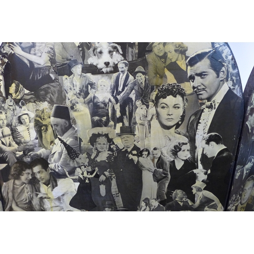 327 - A 20th century decoupage 3 fold dressing screen, decorated with vintage movie stars, 171 x 180cm...