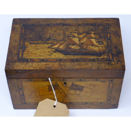 397 - A 19th century tunbridge ware inlaid walnut tea caddy, top depicting a ship, H.12 W.20 D.13cm...