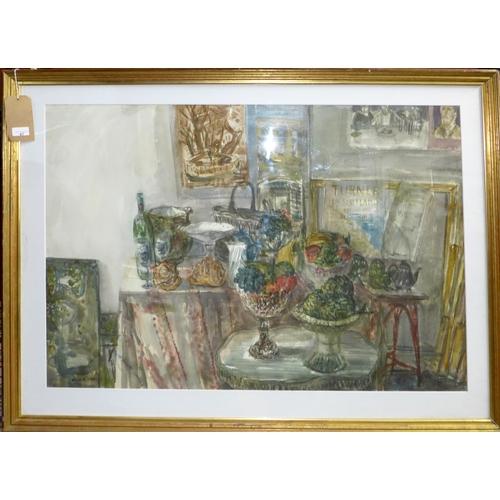 67 - David Gluck (1939-2007), table top still life, watercolour, dated 1989, 73 x 101cm...