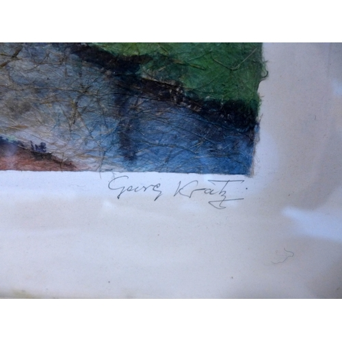 378 - George Kratz, two landscape scenes, gouache on ice paper, both signed and titled in pencil to lower ...