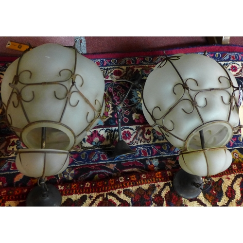 123 - A pair of glass and metal framed hanging ceiling lights, H.48cm...