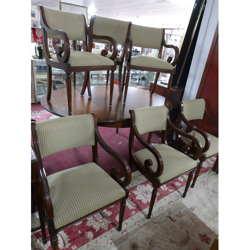 233 - A set of six William Maclean Regency style mahogany scroll armchairs...