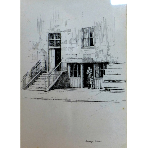 169 - Nathaniel Sparks (British, 1880-1957), 'Trafalgar Studios, Chelsea', pen and ink, 27 x 20cm...