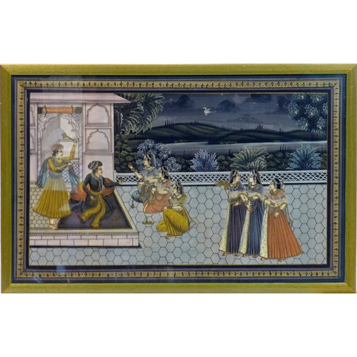 22 - A framed 19th century Indian painting depicting a  wedding scene on a terrace within landscaped gard...