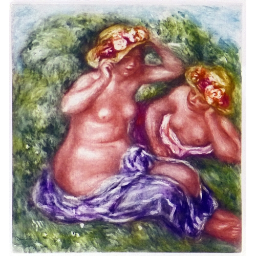 52 - A colour photo etching after Pierre Auguste Renoir, 'Fillette au Torse Nu', with blindstamp for A. V...