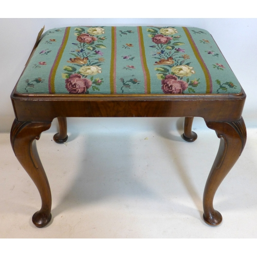 187 - A Georgian style walnut stool, stamped Gill & Reigate, London, H.45 W.53 D.41cm...