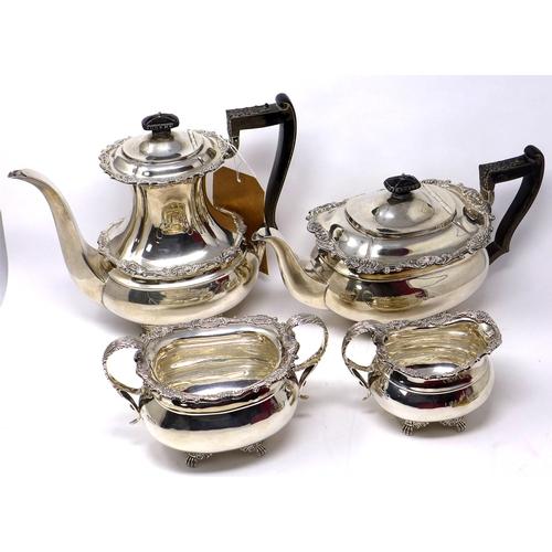 1 - A late 19th century Goldsmith & Silversmith Company silver four piece tea set, 71oz...