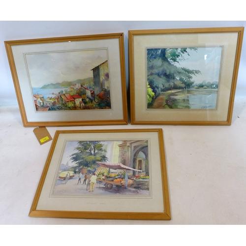 112 - Three 20th century watercolour signed Geoff Dearden...